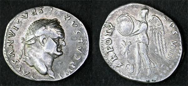 Ancient Coins - Vespasian Judaea Capta Denarius, Nice AEF, Victory with Captive