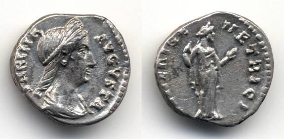 "Ancient Coins - Sabina AR Denarius wife of Hadrian, EF, ""Venus holding apple"""