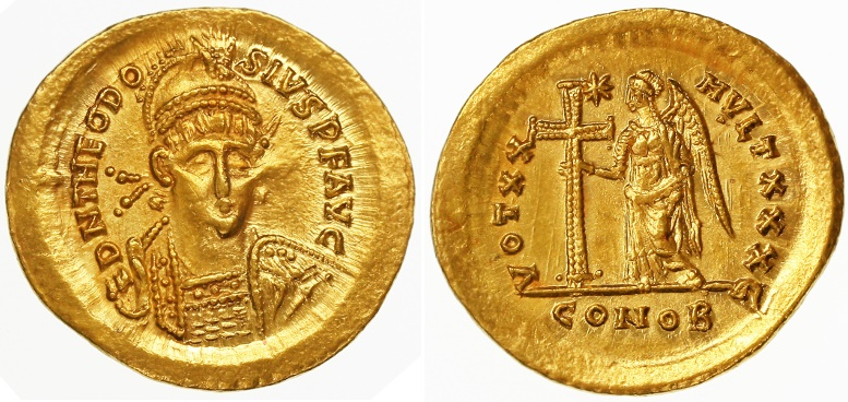 Ancient Coins - Theodosius II AV Gold Solidus, SCARCE, Good Extremely Fine, 423/424 C.E.