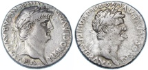 Ancient Coins - Nero and Claudius AR Didrachm, Caesarea-Eusebia Cappadocia, RARE, VF, Circa. 63 - 65 C.E.
