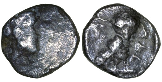 Ancient Coins - Yehud AR Gerah (Ma'ah), Ancient Judaea, F/VF, ALL three letters, before 333 B.C.E.