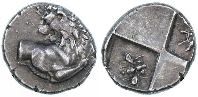 "Ancient Coins - Chersonesos, Thrace AR Hemidrachm, GVF/AEF, ""BEE"" monogram, 386 - 338 B.C.E."