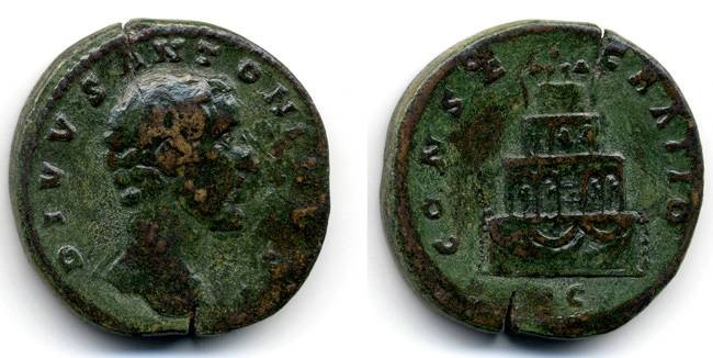 "Ancient Coins - Antoninus Pius, ""Consecratio"" Sestertius AVF/VF, by Marcus Aurelius, ex: Boston Museum of Fine Arts"