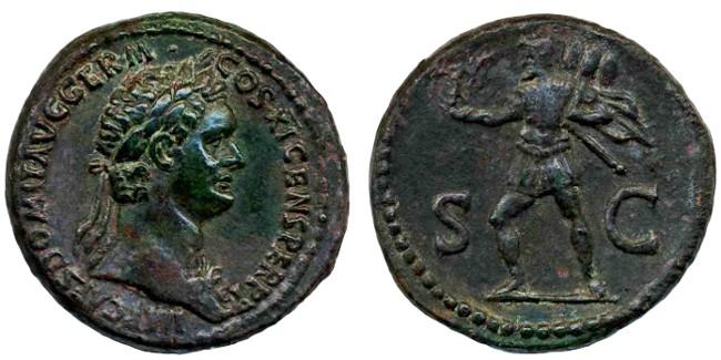 Ancient Coins - Domitian AE Dupondius, EF/AEF, 85 C.E.
