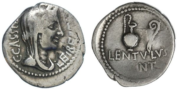 Ancient Coins - C. Cassius and Lentulus Spinther AR Denarius, Bold F+, Scarce type of Caesar conspirator, 43/42 B.C.E.