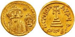Heraclius with Heraclius Constantine Gold AV Solidus, Unpublished Variant?, Extremely Fine,  629 - 631 C.E.