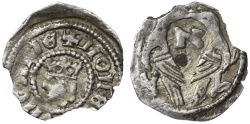 """World Coins - Stefan V (Istvan) AR Obol, Hungary, Scarce VF+, by Jewish Mintmaster with Hebrew letter """"Aleph"""", 1270 - 1272 C.E."""