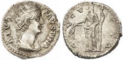 Ancient Coins - Faustina Sr. AR Denarius, Near EF, After 141 C.E.