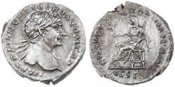 Ancient Coins - Trajan AR Denarius, Choice Extremely Fine, 103 - 111 C.E.