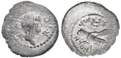 Ancient Coins - Marc Antony AR Quinarius, SCARCE AVF, Circa. 39 B.C.E.