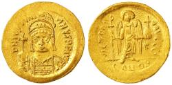 Ancient Coins - Justinian I AV Gold Solidus, CHOICE EF, Lustrous, 527 - 565 C.E.