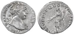 Ancient Coins - Trajan AR Denarius, About Extremely Fine, 103 - 111 C.E.
