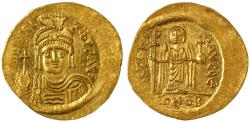 Ancient Coins - Maurice Tiberius AV Gold Solidus, Lustrous Ch. EF, 582 - 602 C.E.
