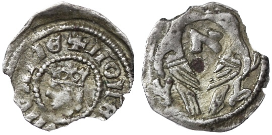 "World Coins - Stefan V (Istvan) AR Obol, Hungary, Scarce VF+, by Jewish Mintmaster with Hebrew letter ""Aleph"", 1270 - 1272 C.E."