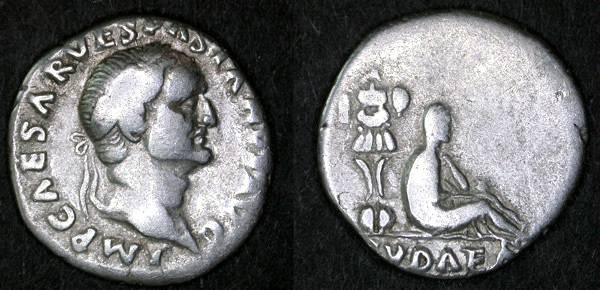 "Ancient Coins - Vespasian ""Judaea Capta"" Denarius, AVF, ""IVDAEA"""