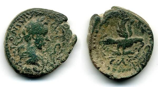Ancient Coins - Aelia Capitolina, RARE Legionary Eagle type, Antoninus Pius, AVF
