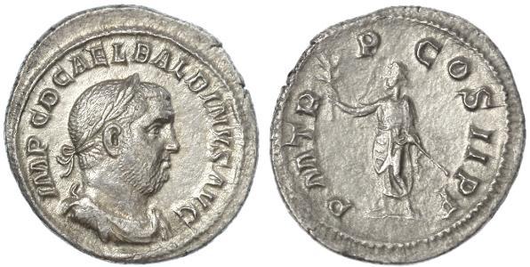 Ancient Coins - Balbinus AR Denarius, Scarce EF/VF+, 238 C.E.