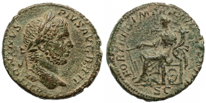 Ancient Coins - Caracalla AE AS, EF/AEF, Rare, 211 C.E.
