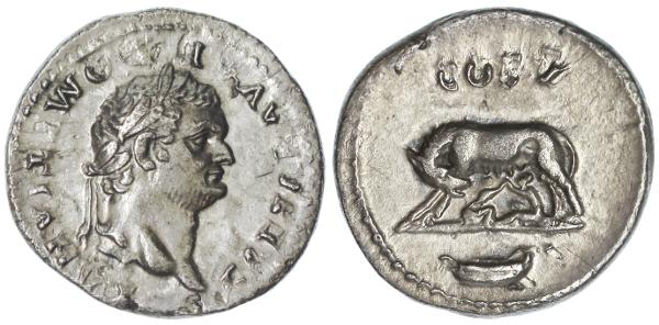 "Ancient Coins - Domitian AR Denarius, Near EF, ""She-Wolf suckling"", 77/78 C.E."
