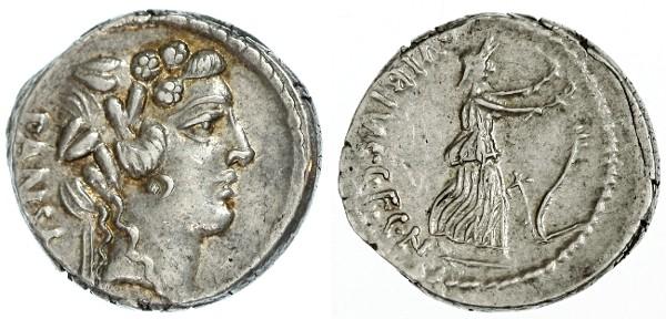 Ancient Coins - C. Vibius Pansa AR Denarius, AEF/EF, nicely toned, 48 B.C.E.