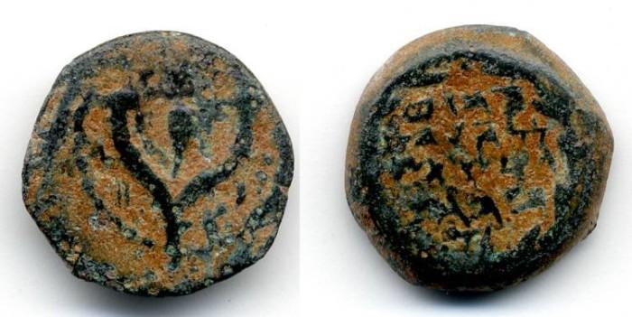 Ancient Coins - John Hyrcanus 135 - 104 B.C.E.,VF, Hasmonean Prutah