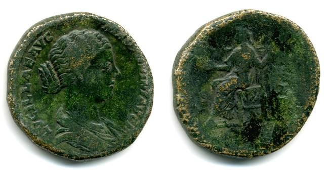 Ancient Coins - Lucilla wife of Lucius Verus Sestertius, VF/F+, ex. Boston Museum of Fine Arts early Provenance