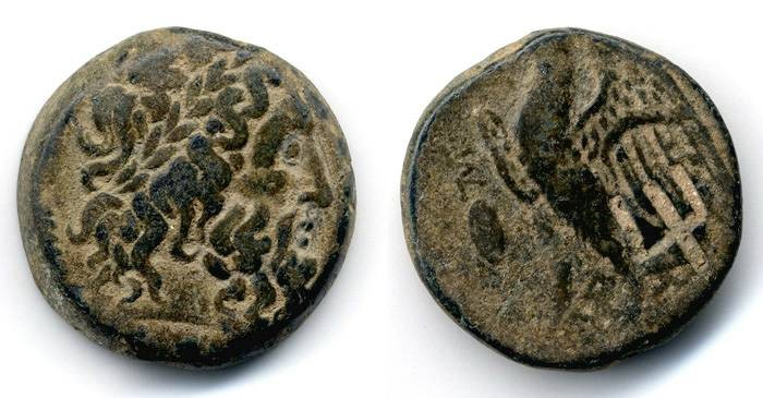 Ancient Coins - Ptolemy II Philadelphus AE with trident countermark, VF+/AVF, 274-261 B.C.E.