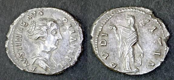 Ancient Coins - Faustina Junior AR Denarius, AEF/EF, Early mint under Antoninus Pius