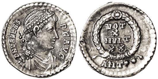 Ancient Coins - Valens AR Siliqua, Superb EF, Antioch Mint, 364 - 378 C.E.