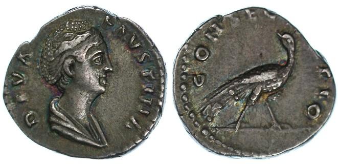 """Ancient Coins - Faustina Senior AR Denarius, VF with old collection irridescent toning, """"Peacock"""", Circa. 141 C.E."""