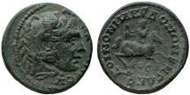 Ancient Coins - Macedon, SCARCE Alexander on horseback AE26, VF+/VF, 238 - 244 C.E.
