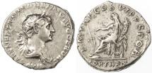 Ancient Coins - Trajan AR Denarius, Very Fine, 114 - 117 C.E.
