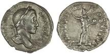 "Ancient Coins - Severus Alexander AR Denarius, AEF, ""Sol holding globe"", 230 C.E."