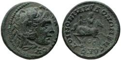 Ancient Coins - Macedon  AE26, VF+/VF, SCARCE Alexander on horseback, 238 - 244 C.E.