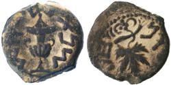 Ancient Coins - Jewish War - First Revolt AE Prutah, Very Fine+, Year Three 68/69 C.E.