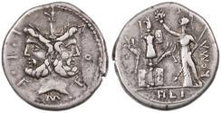 Ancient Coins - M. Furius L.f. Philus AR Denarius, VF/AVF, Circa. 120/119 B.C.E.