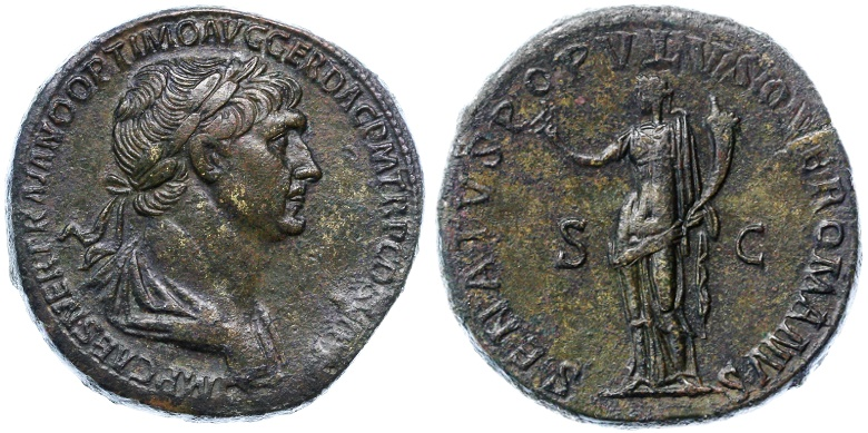 Ancient Coins - Trajan AE Sestertius, About Extremely Fine, Lovely deep Patina, 114 - 116 C.E.