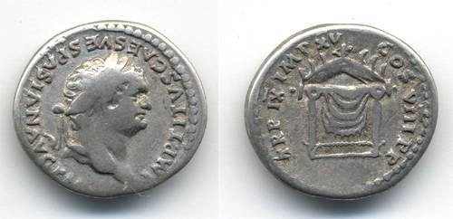 Ancient Coins - Titus Denarius, Draped Throne