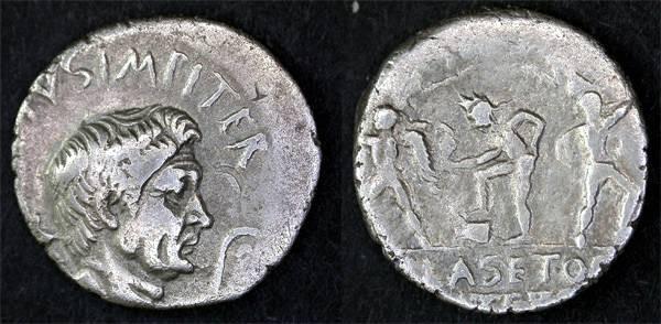 Ancient Coins - Sextus Pompeius AR Denarius, BOLD portrait of Pompey the Great, VF/AVF