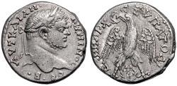 """Ancient Coins - Gadara of the Decapolis, Caracalla AR Tetradrachm, SCARCE VF+/VF, """"three Graces"""", 215 - 217 C.E."""