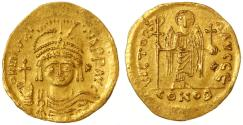 Ancient Coins - Maurice Tiberius AV Gold Solidus, Choice VF+, Scarce variety, Antioch, 582 - 602 C.E.