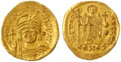 Ancient Coins - Maurice Tiberius AV Gold Solidus, Choice VF+, Scarce variety, Antioch, 582 - 602 C.E.