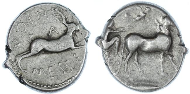 Ancient Coins - Messana, Zankle AR Tetradrachm, VF/GVF, 480 - 456 B.C.E.