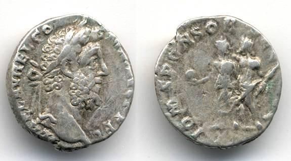 "Ancient Coins - Commodus RARE AR Denarius ""IOM SPONSOR SEC AVG"" Jupiter and Commodus"