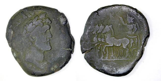 Ancient Coins - Antoninus Pius, AE Drachm, Alexandria, AVF, SCARCE, Quadriga