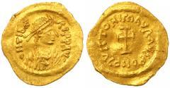 Ancient Coins - Maurice Tiberius AV Gold Tremissis, EF, 582 - 602 C.E.
