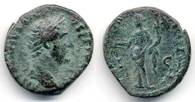 Ancient Coins - Antoninus Pius, SCARCE As, AVF, 148/149 C.E.