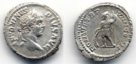 Ancient Coins - Caracalla AR Denarius, VF+, PONTIF TRP VIIII, 206 C.E.