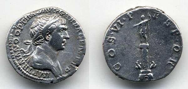 Ancient Coins - Trajan AR Denarius, VF, Trajan's Column
