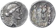 M. Junius Brutus (Q. Servilius Caepio) AR Denarius, Toned Very Fine, Pedigreed, 54 B.C.E.